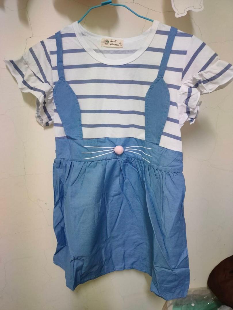 白底藍色兔兔小洋裝