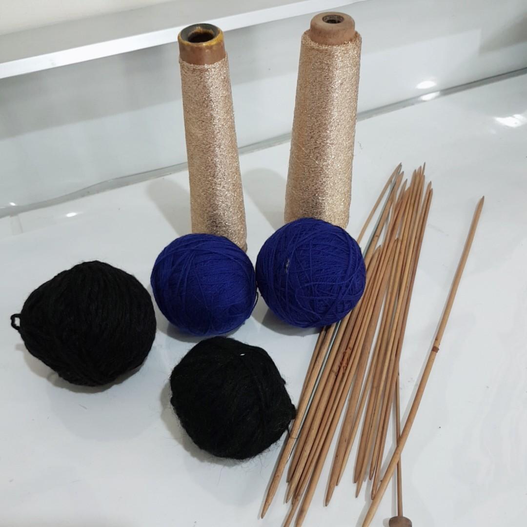 毛線 棒針 金蔥線 金線 藍色 黑色