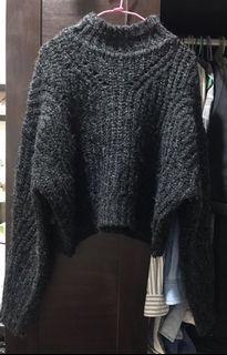 混色黑 羊毛 微高領 厚實 短版 毛衣 #開工