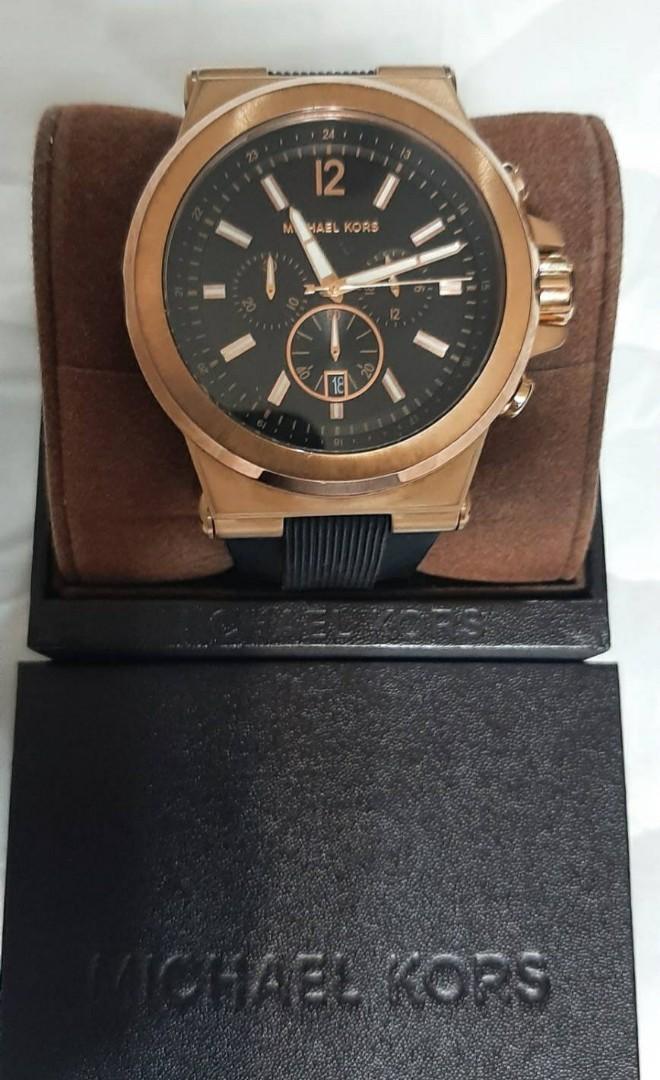 正品MICHAEL KORS 男女可戴大錶徑玫瑰金100米防水三眼計時腕錶