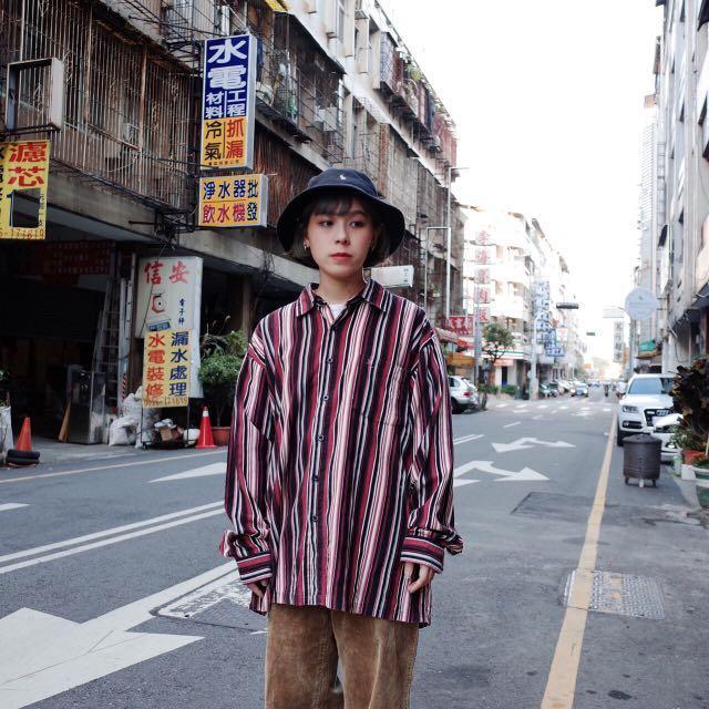 復古紅色燈芯絨直條紋襯衫🔥賣場商品任選2件9折 3件85折 古著vintage🔥
