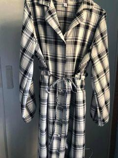 QQbow 縮腰綁帶格紋雪紡長洋裝