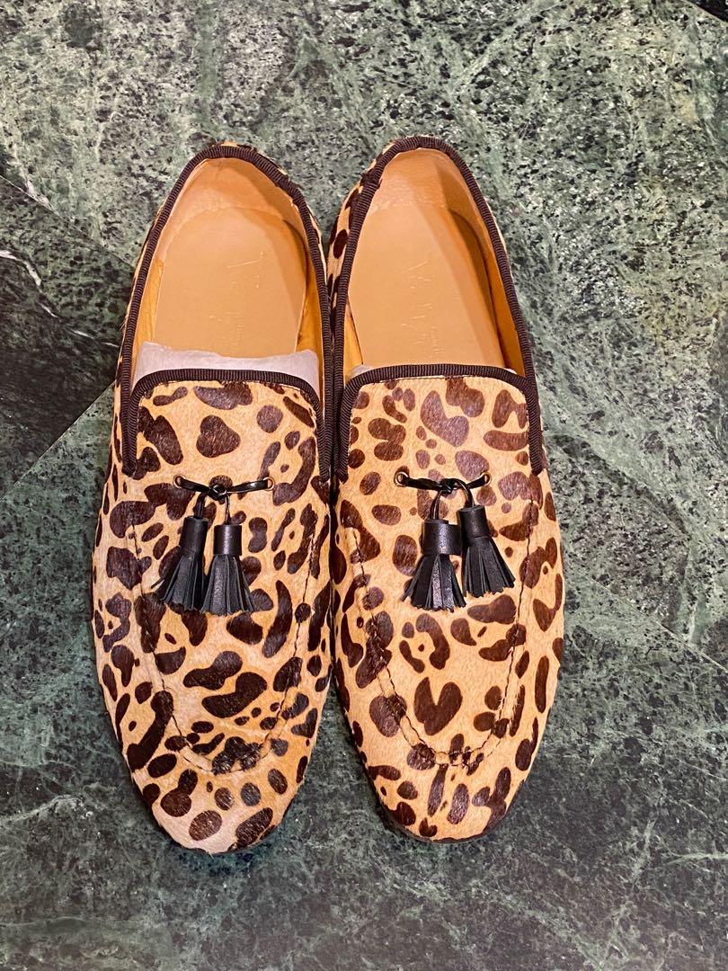 Vanger 豹紋 Loafer 流蘇皮鞋 全新盒裝