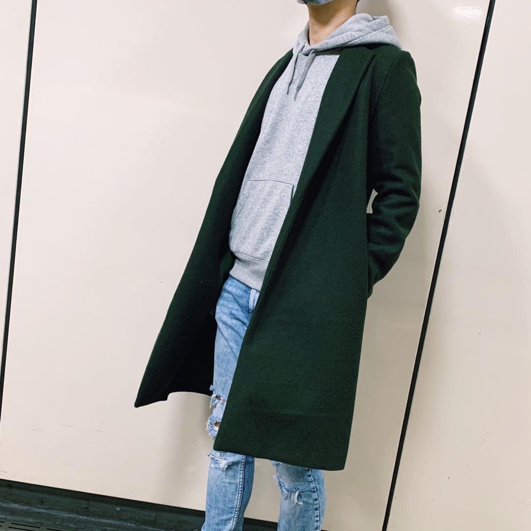 ZARA 紳士 毛尼 大衣 保暖 長版 外套 男版 墨綠色 L號 二手