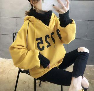 韓版超可愛假2件式刷毛連帽大學T