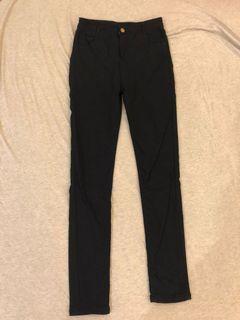 基本款黑窄管長褲 微刷毛 二手褲