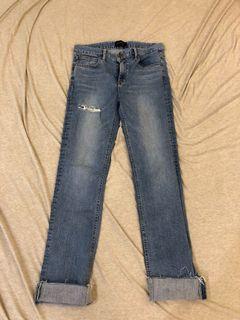韓貨 淺刷色牛仔小直通長褲👖 褲腳可反折 微割破款