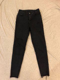 韓貨 粉紅標家的深灰岩黑色牛仔褲 L號