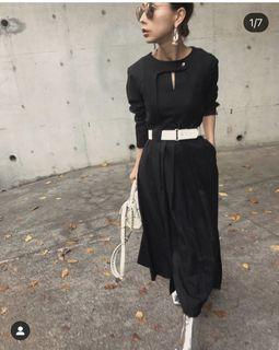 高單價品牌!日本代官山設計品牌 Ameri vintage 黑色附腰帶顯瘦精品洋裝(搶手限量款)Snidel