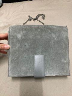 包順豐 COS suede shoulder crossbody grey colour Handbag