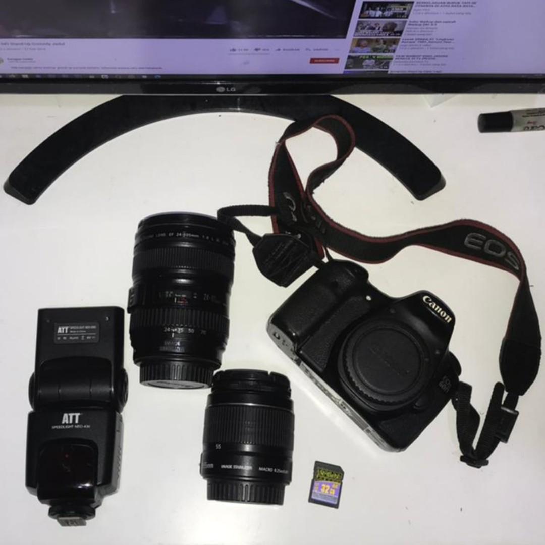 Canon 60D, Lensa, Flash, Tas lengkap
