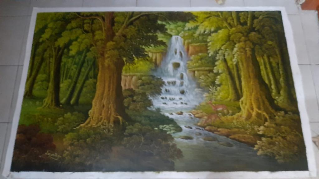 Lukisan kanvas pemandangan air terjun 85x135cm