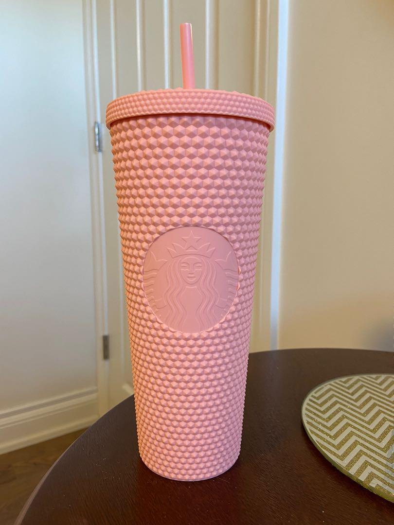 RARE - BNWT Starbucks Venti Tumbler Studded Matte Pink Cold Cup 24oz
