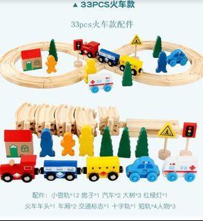 33pcs Wooden Train Track Toys Set Brand New