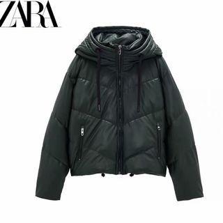 春節限時降888-Zara-墨綠人造皮連帽外套-XS (尺碼偏大)