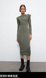 Zara 全新 m號 灰綠色 背後挖空 墊肩針織洋裝