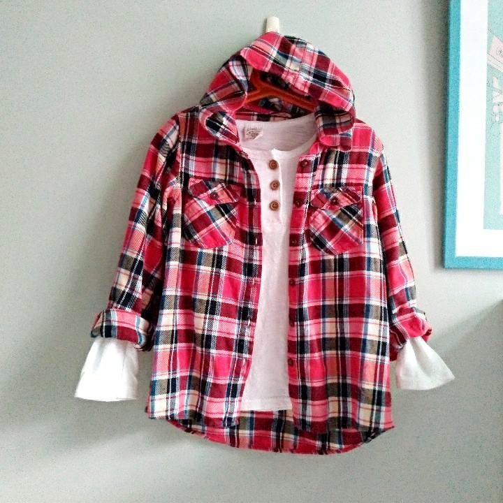 (童)品牌連帽襯衫外套(130cm)
