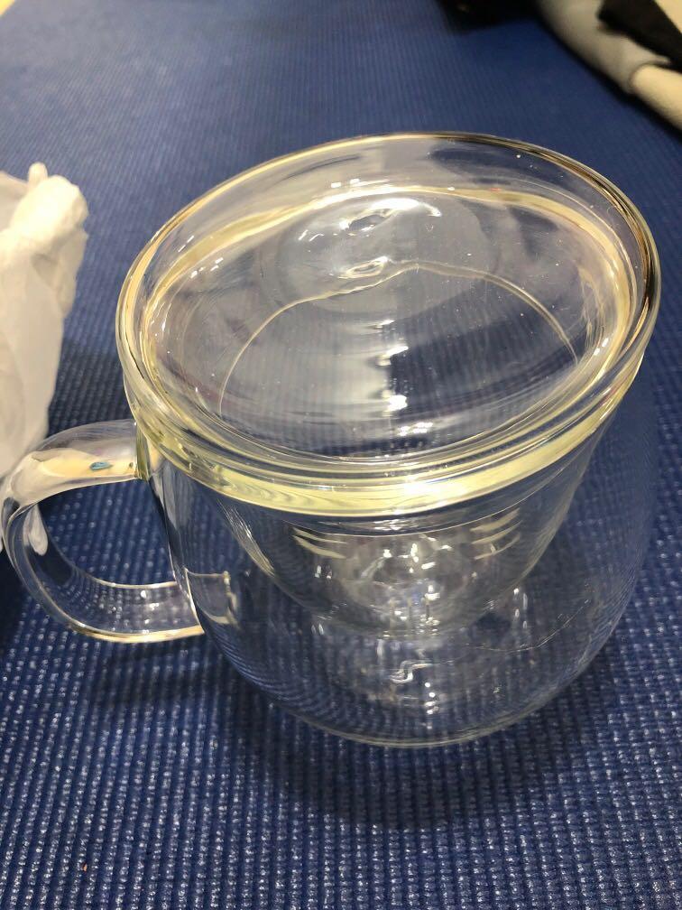 透明精緻單人份蛋形-中間有濾茶噐的茶杯-約300cc