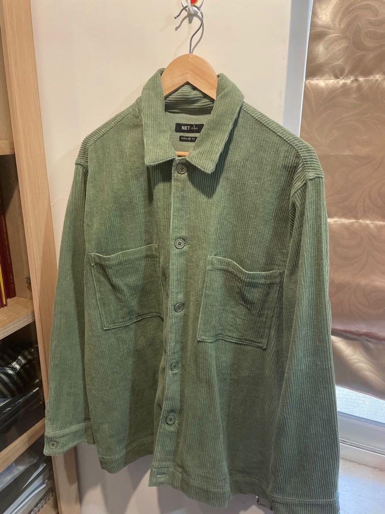 綠色燈芯絨襯衫外套