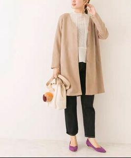韓國製圓領長版淺棕色外套