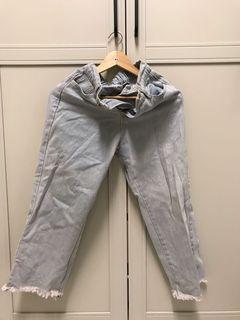 淺藍鬆緊帶寬褲