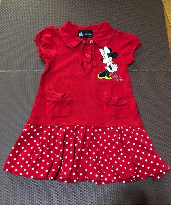 迪士尼樂園 園內商品購入 正版 米妮百褶裙洋裝