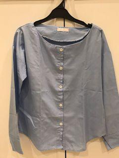Blue round neck blouse korean style