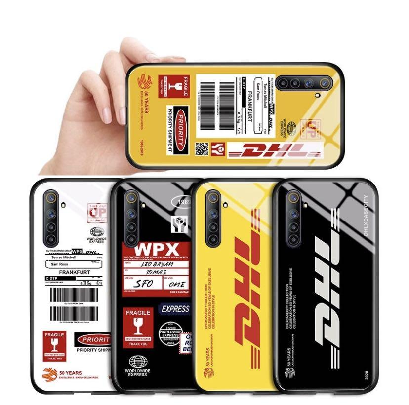 DHL Express Untuk Realme 5S 5i 2 Pro 3 Pro 5 Pro 1 OPPO Casing Phone Case Delivery Customs label Shockproof Luxury Fashion POP Popular Tide Brand Hard Cover Bahan Kaca Tempered hp Handphone