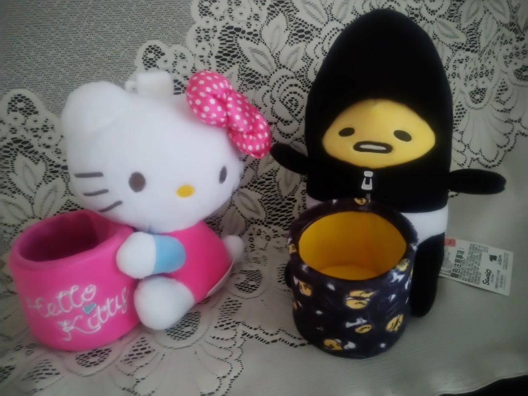蛋黃哥和Hello Kitty汽車絨毛置物筒