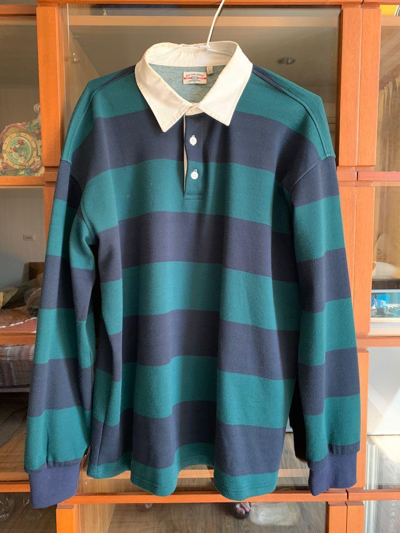jks 藍綠條文襯衫 M號