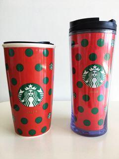 Starbucks 'Polka Dot Bundle' Reusable Tumbler and Double Wall Mug (2019) 🟢⚪️🔴