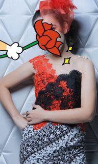 [ BOLEH NEGO ]  XAVERANA Dress model batik tule dan bordir  Size M