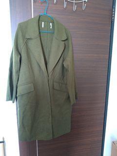 深綠色簡約毛尼大衣 換物