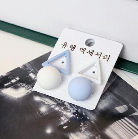 明天萊免運 全新袋裝韓國磨砂不規則幾何圖形耳針耳環飾品