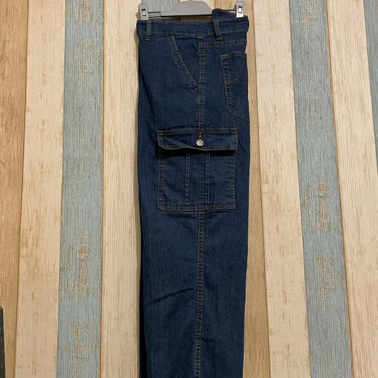 卡藤 - 工裝口袋牛仔寬褲