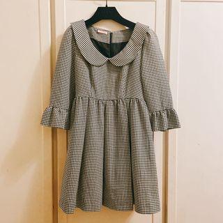 黑白格紋洋裝 九成新 立體剪裁 澎裙 蝴蝶結 尺寸38或M