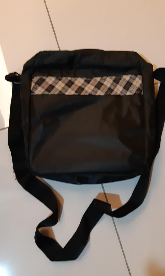 二手 金安德森 黑色格紋 防潑水 通勤 外出多功能多夾層斜背包