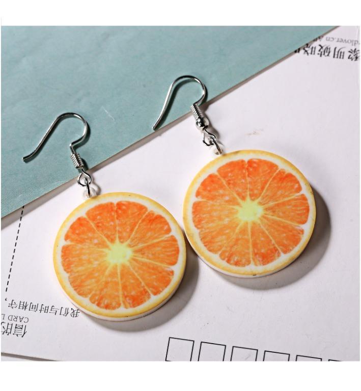 明天萊免運 全新袋裝韓國s925防過敏抗過敏可愛逗趣清涼柳丁柳橙水果銀針耳鉤耳環飾品
