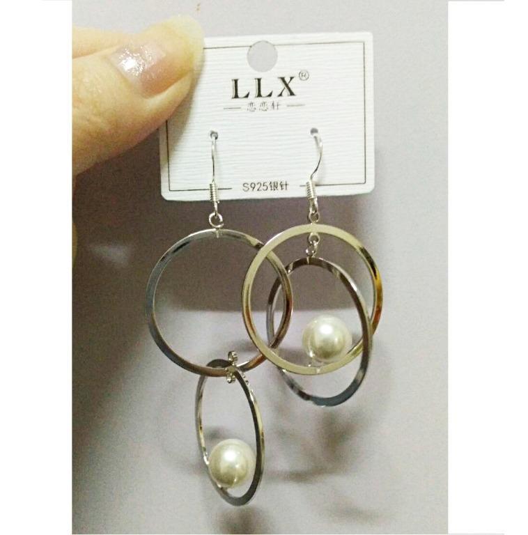 明天萊免運 全新袋裝S925防過敏抗過敏不規則圓環珍珠垂墜造型耳環