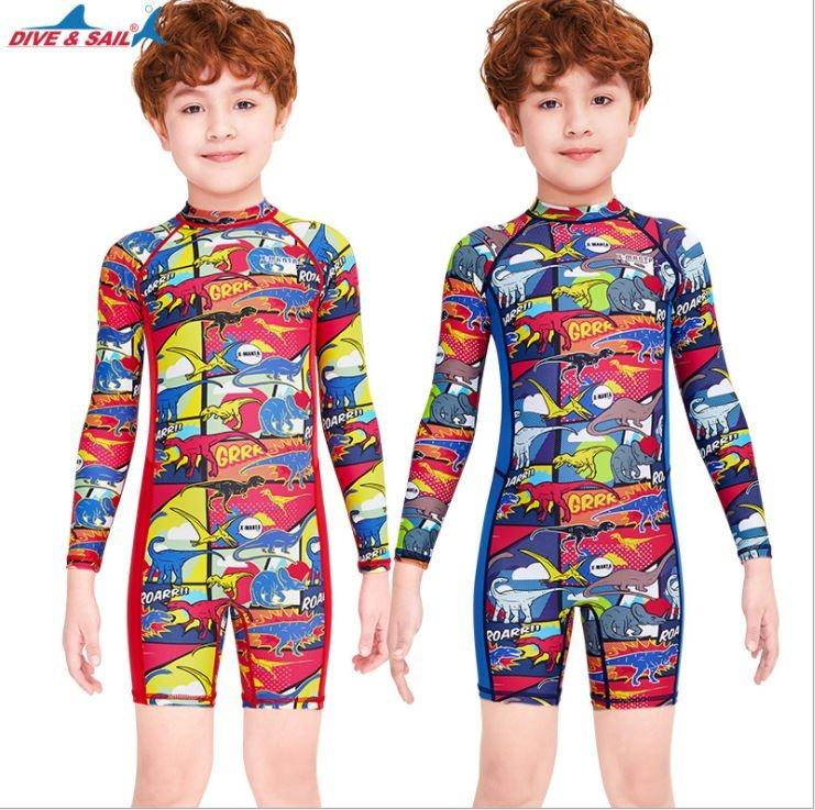 Kids one piece swimsuit with swimming cap dinosaur pattern