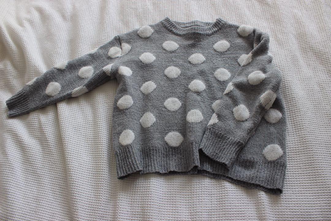 Chunky grey polka dot mirrou knit