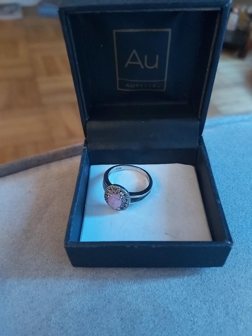 girls size 6 pink sterling silver ring