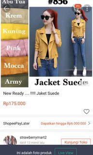 Jaket suede pink import