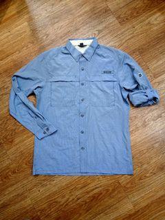 Kemeja Mancing Outdoor Lapangan Eddie Bauer Mens Guide Long Sleeve Biru Original