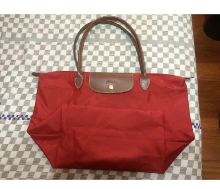《二手》Longchamp/玫瑰紅/酒紅/購物袋/旅行袋/長柄/防潑水