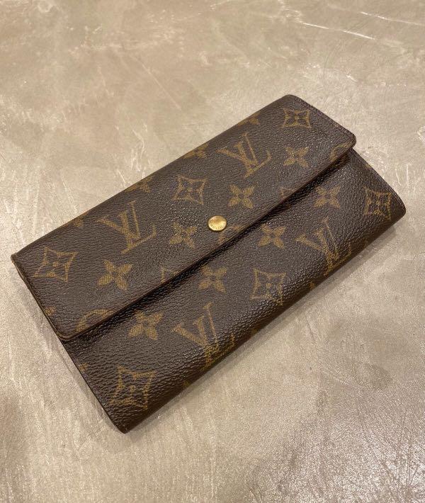 LV Louis Vuitton 原花老花掀蓋式長夾皮夾