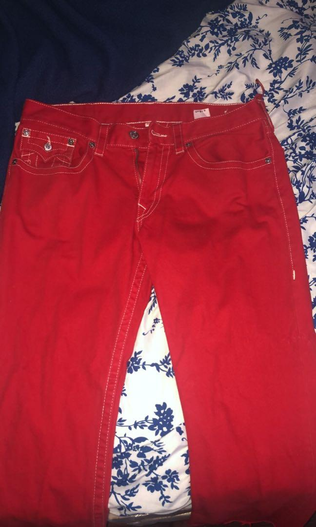 Men's red true religion jeans