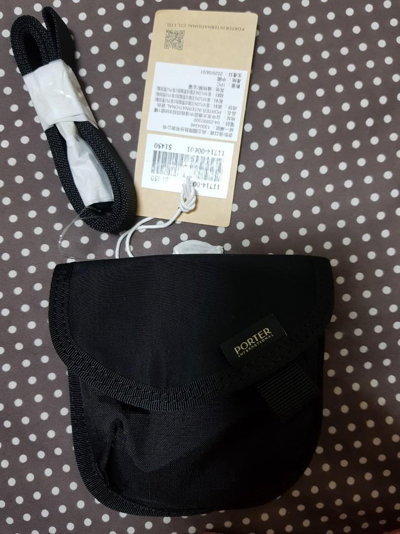 全新Porter黑色尼龍零錢包,附背帶(送聯名口罩)