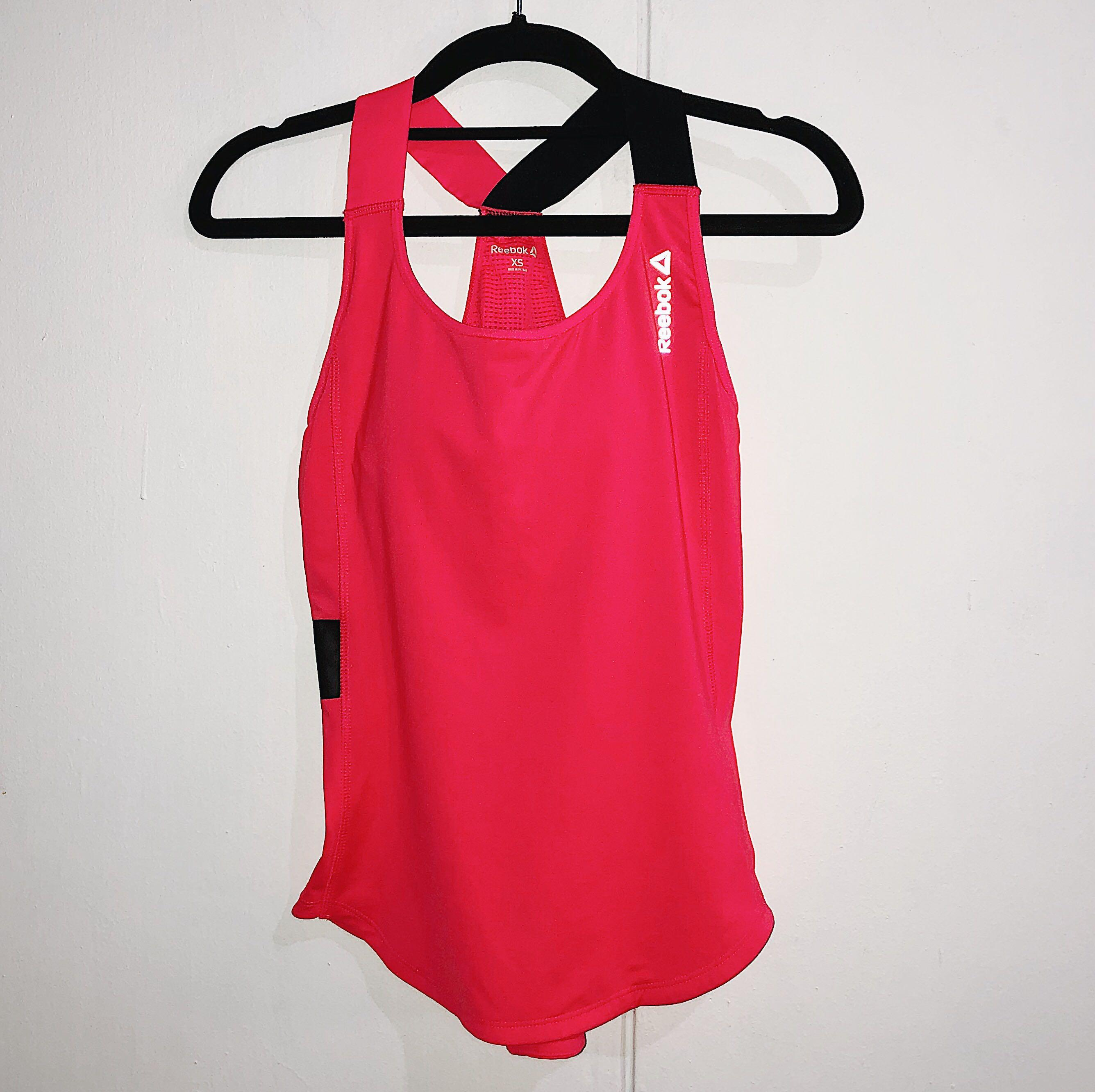 Reebok Neon Coral Work Out Exercise Stretchable Sleeveless Top