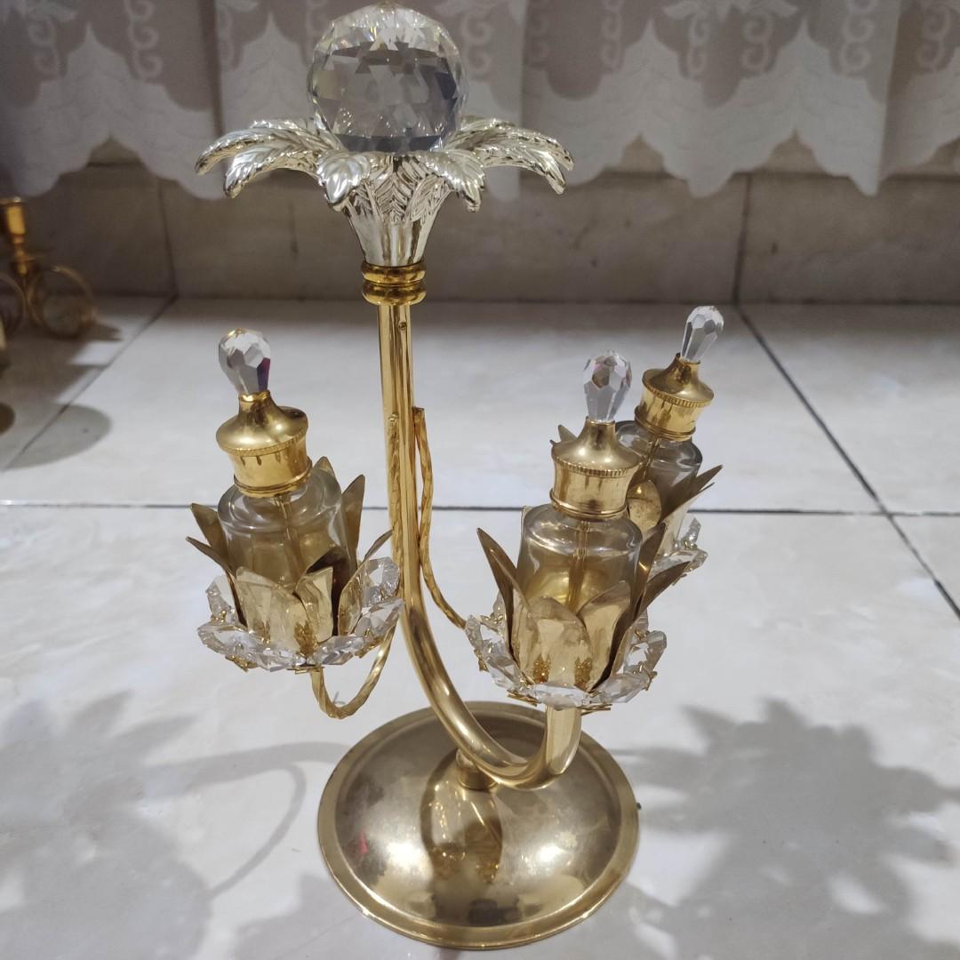 Royal Vintage Tempat Parfum Arab Kuningan Emas & Berlian / Antik Mewah